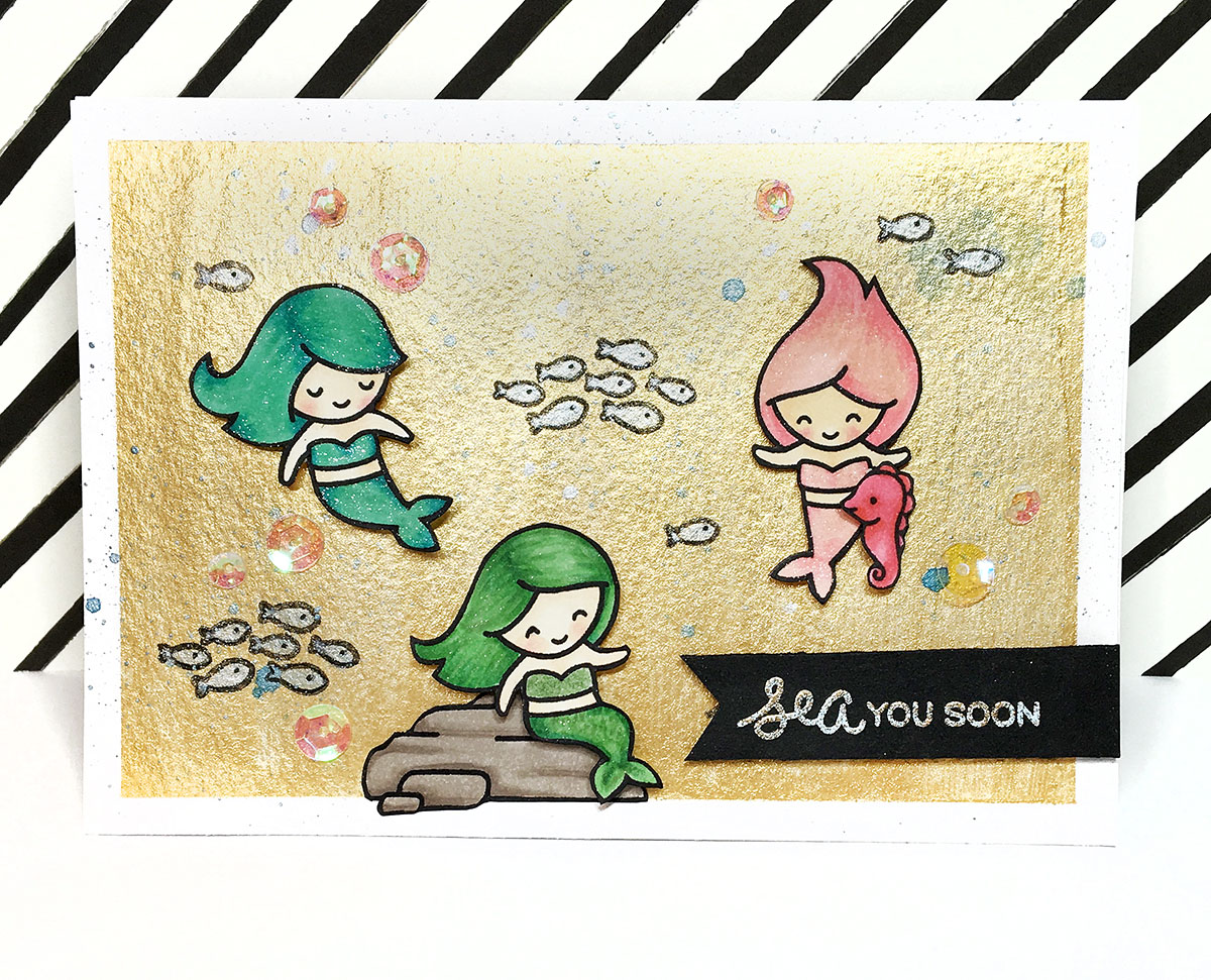 Maya Isaksson Lawn Fawn mermaid card